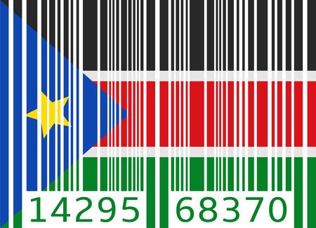 south sudan: bar code flag south sudan