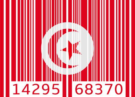 tunisia: bar code flag tunisia