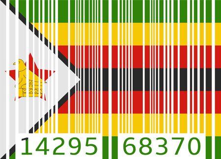 zimbabwe: bandera de c�digo de barras zimbabwe Vectores