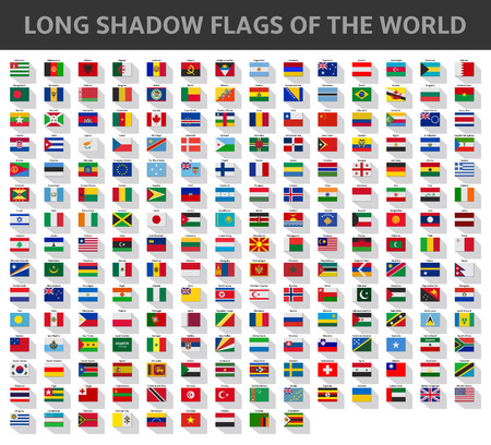 long shadow flags of the world Vector