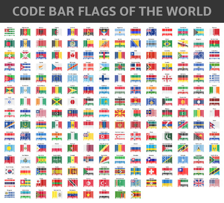code bar flags of the world Vector