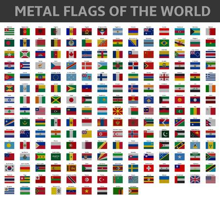 nações: bandeiras de metal do mundo Ilustração