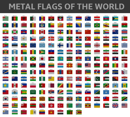 bandera uk: banderas metálicas del mundo Vectores