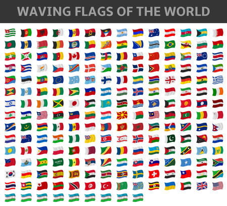 waving flags of the world Stock Illustratie