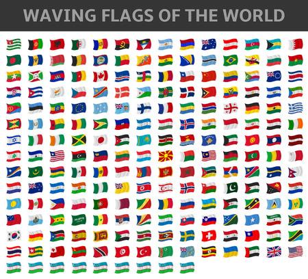 italien flagge: Wellenartig bewegende Flaggen der Welt
