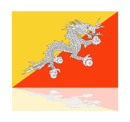bhutan: reflection flag bhutan