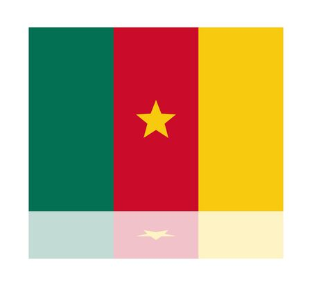 cameroon: reflection flag cameroon Illustration