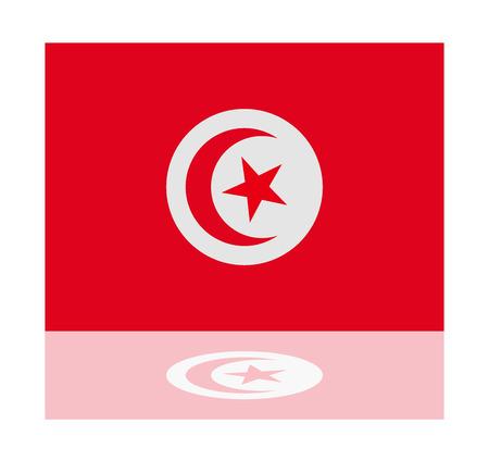 tunisia: reflection flag tunisia
