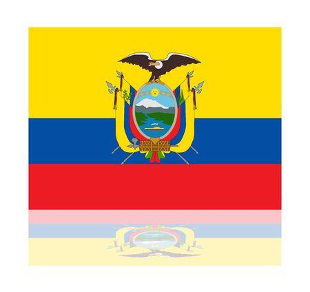 ecuador: reflectie vlag van Ecuador Stock Illustratie