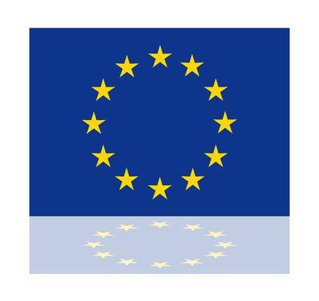 european union: reflection flag european union Illustration