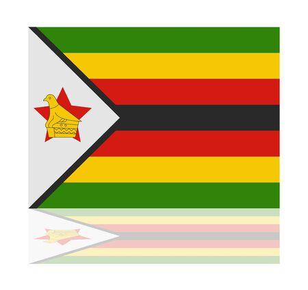 zimbabwe: reflection flag zimbabwe Illustration