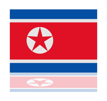 north korea: reflection flag north korea