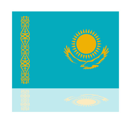 kazakhstan: reflection flag kazakhstan Illustration