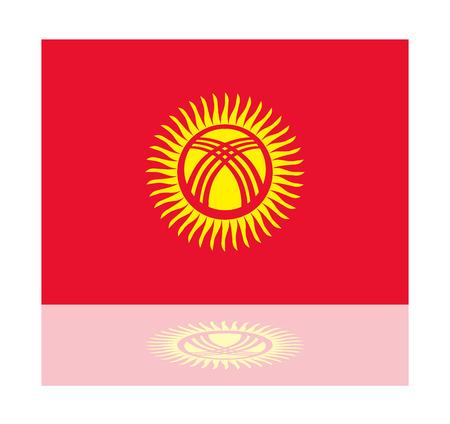 kyrgyzstan: bandera reflexión Kirguistán