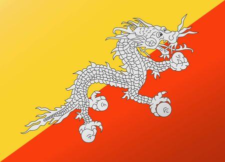 bhutan: reflectie vlag Bhutan Stock Illustratie