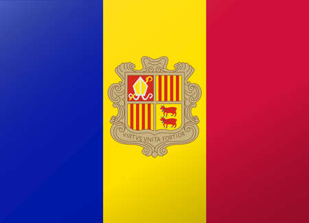 andorra: reflection flag andorra