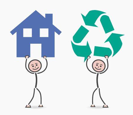 niños reciclando: los niños de reciclaje en el hogar