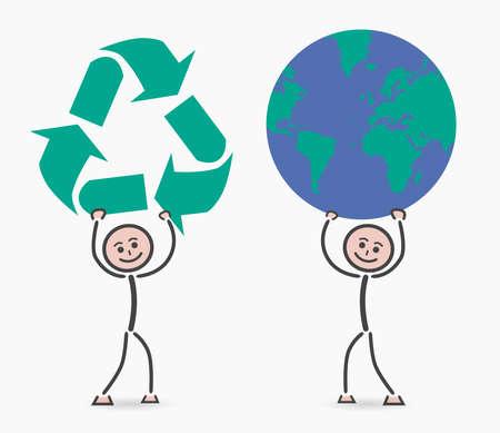 niños reciclando: los niños de reciclaje planeta