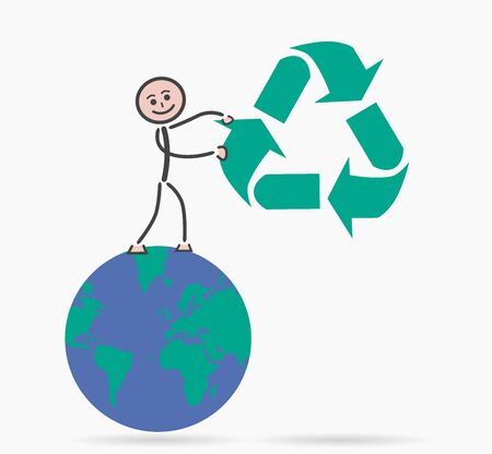 environment geography: child recycling Illustration