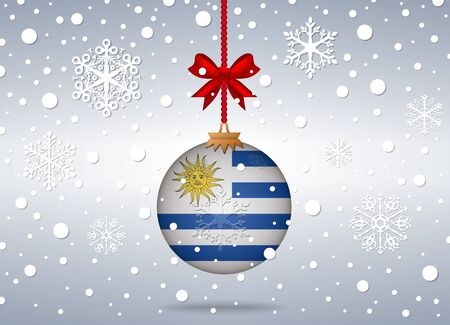 christmas background with uruguay flag ball
