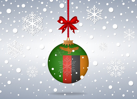 zambia: christmas background with zambia flag ball