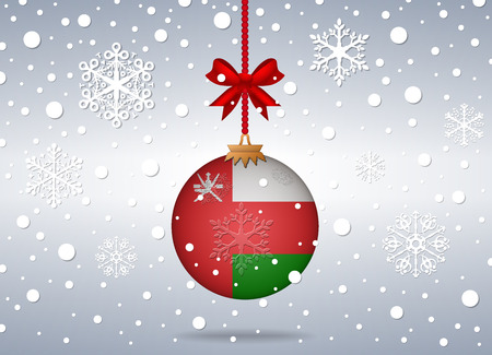 oman background: christmas background with oman flag ball
