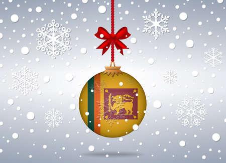 sri: christmas background with sri lanka flag ball
