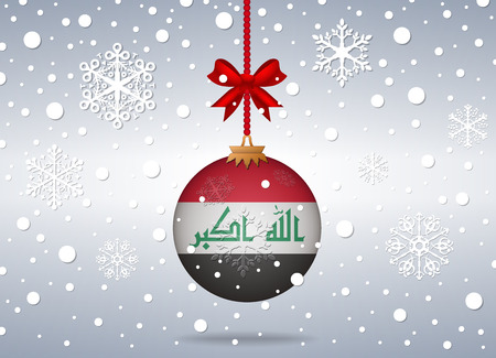 iraq flag: christmas background with iraq flag ball