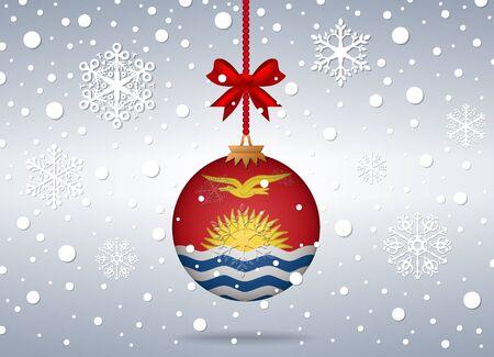 kiribati: christmas background with kiribati flag ball