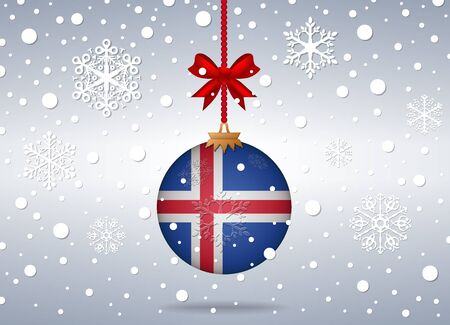 iceland flag: christmas background with iceland flag ball