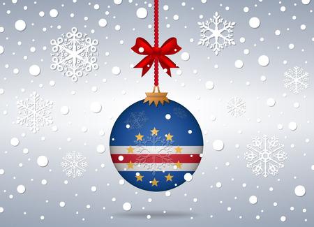 cape verde: christmas background with cape verde flag ball