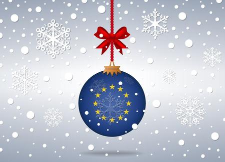 european union flag: christmas background with european union flag ball