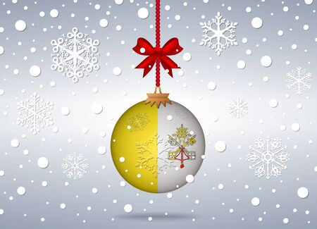 vatican city: christmas background with vatican city flag ball