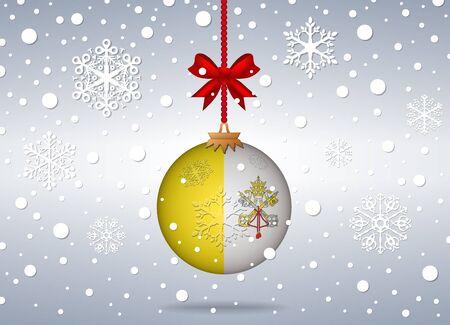 ciudad del vaticano: Fondo de Navidad con la ciudad del vaticano bola bandera