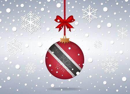 trinidad: christmas background with trinidad flag ball