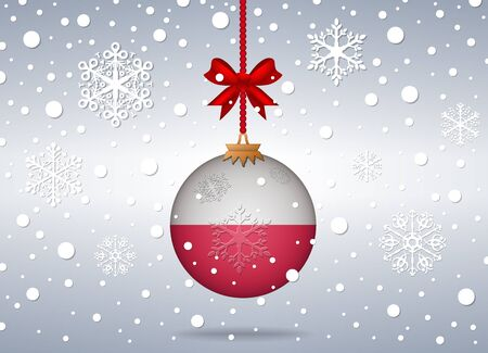 poland flag: christmas background with poland flag ball