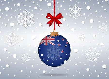 new zealand flag: sfondo Natale con palla di nuovo la bandiera Zelanda