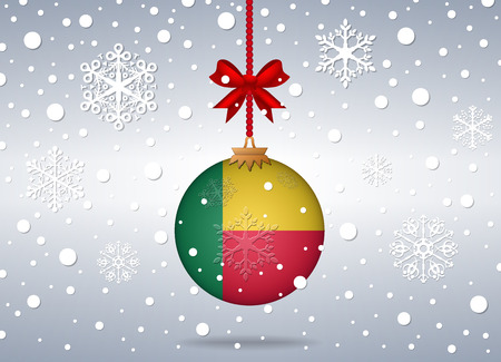 benin: christmas background with benin flag ball Illustration