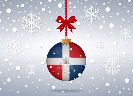 rep: christmas background with dominican rep flag ball
