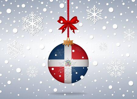 reps: Fondo de Navidad con pelota dominicana bandera rep Vectores