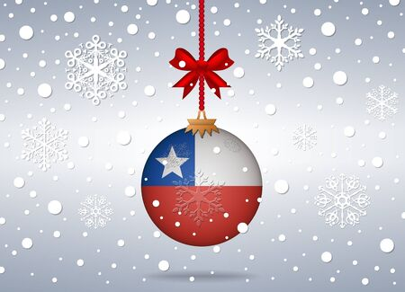chile flag: christmas background with chile flag ball Illustration