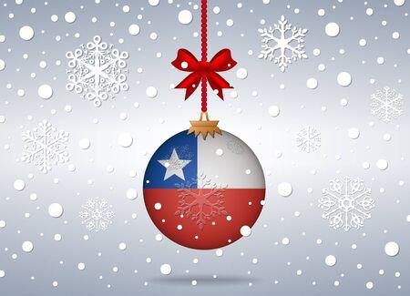 bandera chile: fondo de la Navidad con la bola de la bandera de Chile