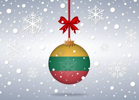 lithuania flag: christmas background with lithuania flag ball
