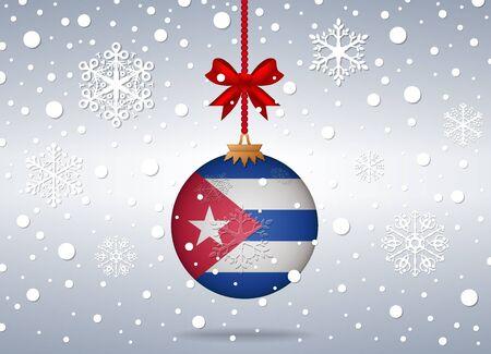 cuba flag: christmas background with cuba flag ball