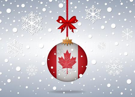 Kerst achtergrond met canada vlag bal