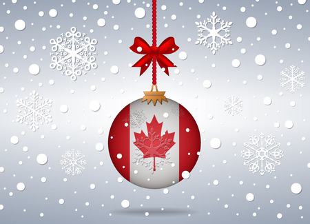 christmas background with canada flag ball