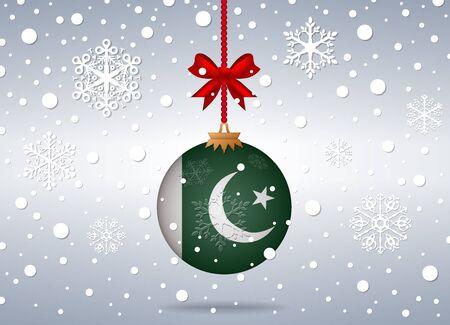 pakistan flag: christmas background with pakistan flag ball