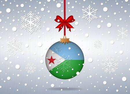 djibouti: christmas background with djibouti flag ball