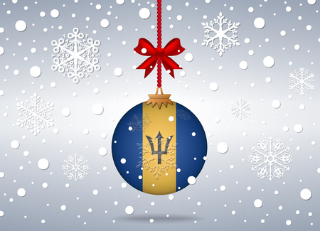 barbados: christmas background with barbados flag ball