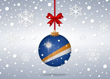 marshall: christmas background with marshall islands flag ball Illustration